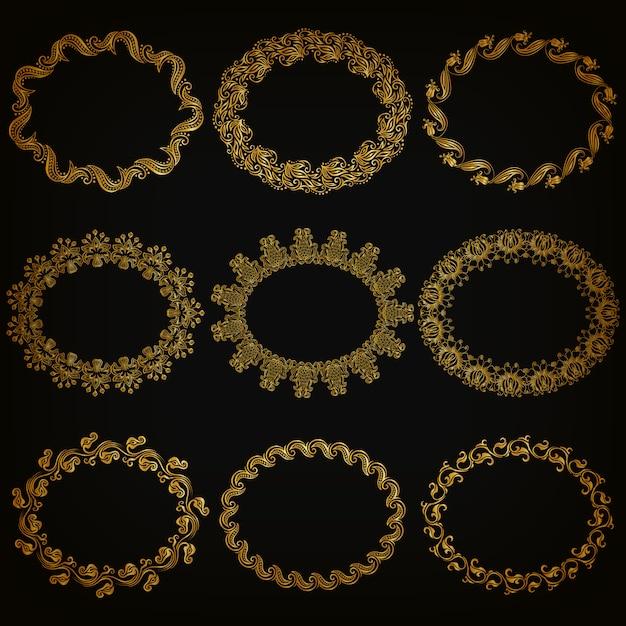 Set of gold decorative ornamental borders, frame Premium Vector
