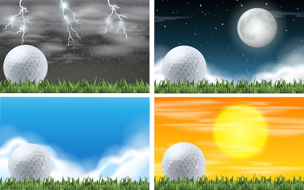 Set of gold field different weather Free Vector