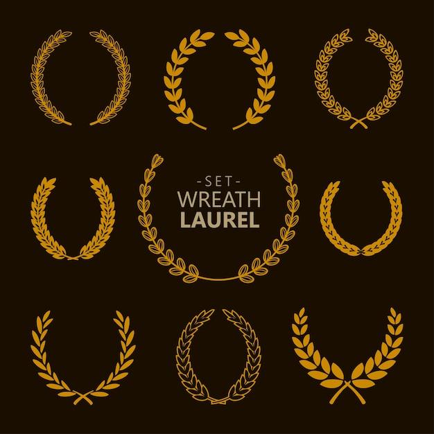 Set of gold laurel wreath on the dark background. Premium Vector