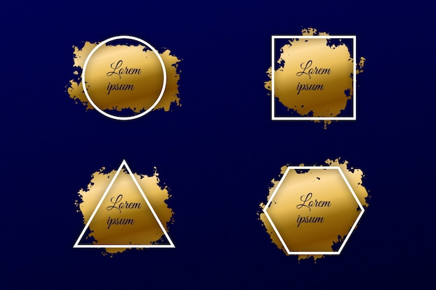 Set of gold paint brush strokes with geometric frame luxury shine banner Premium Vector