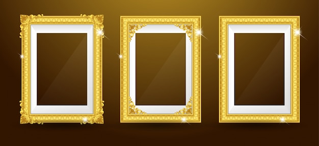 Set of gold photo frame Premium Vector