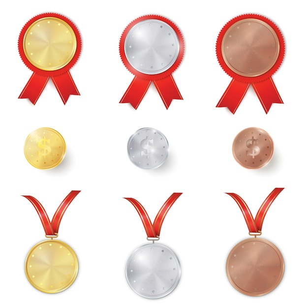 Set of gold, silver and bronze awards Premium Vector