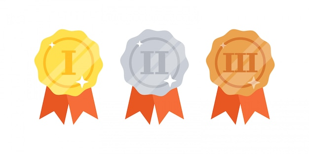 Set of gold, silver, bronze medals with ribbons Premium Vector