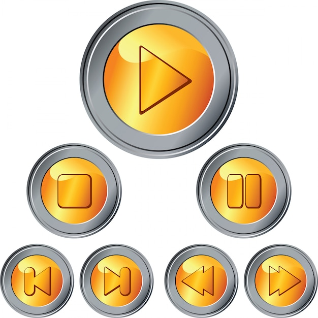 Set of gold and silver button Premium Vector