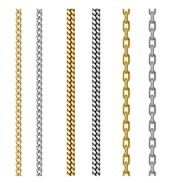 Set of gold and silver chains. jewelry design. realistic 3d illustration isolated on white Premium Vector