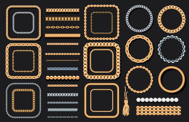 Set of gold and silver chains Premium Vector