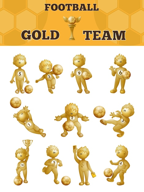 Set of gold soccer players. Premium Vector