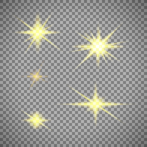 Set of gold star lights isolated on transparent Free Vector