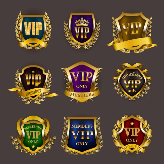 Set of gold vip insignia Premium Vector