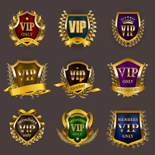 Set of gold vip insignia Premium Vector