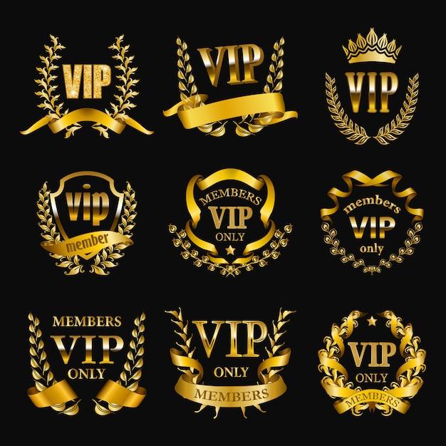 Set of gold vip monograms for graphic design on black Premium Vector