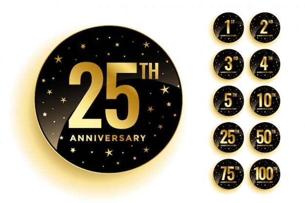 Set of golden anniversary badges Free Vector