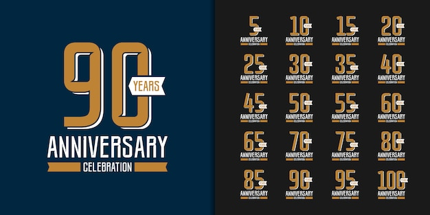 Set of golden anniversary celebration emblem design. Premium Vector