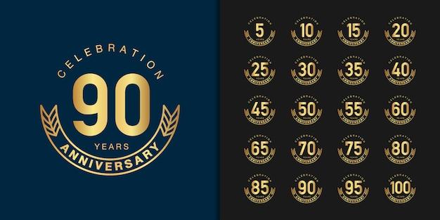 Set of golden anniversary celebration emblem design. Premium Vector