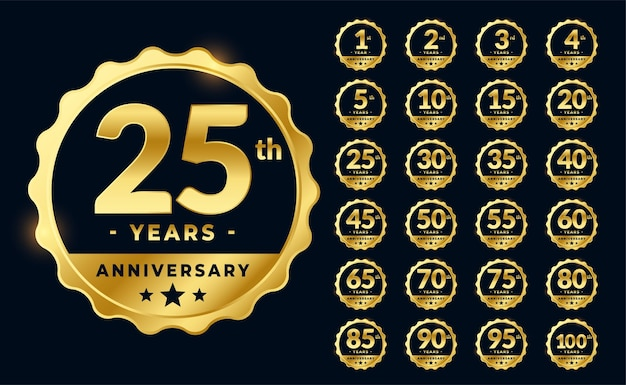 Set of golden anniversary emblems labels Free Vector