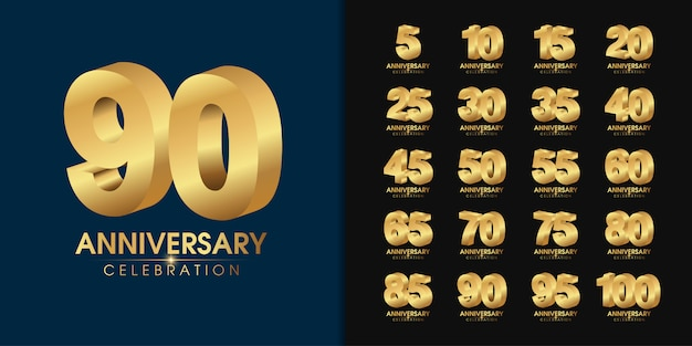Set of golden anniversary logo. Premium Vector