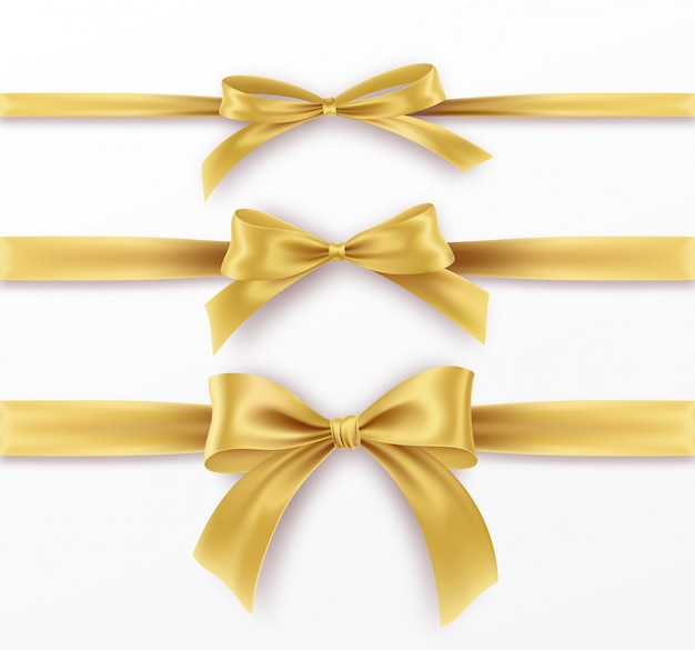Set golden bow and ribbon on white background. realistic gold bow. Premium Vector