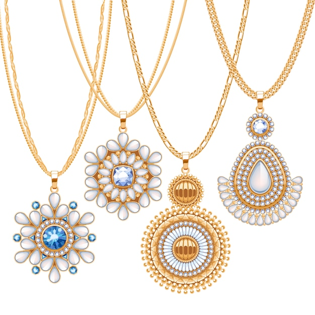 Set of golden chains with different pendants. precious necklaces. ethnic indian style brooches pendants with gemstones pearls. include chains brushes. Premium Vector