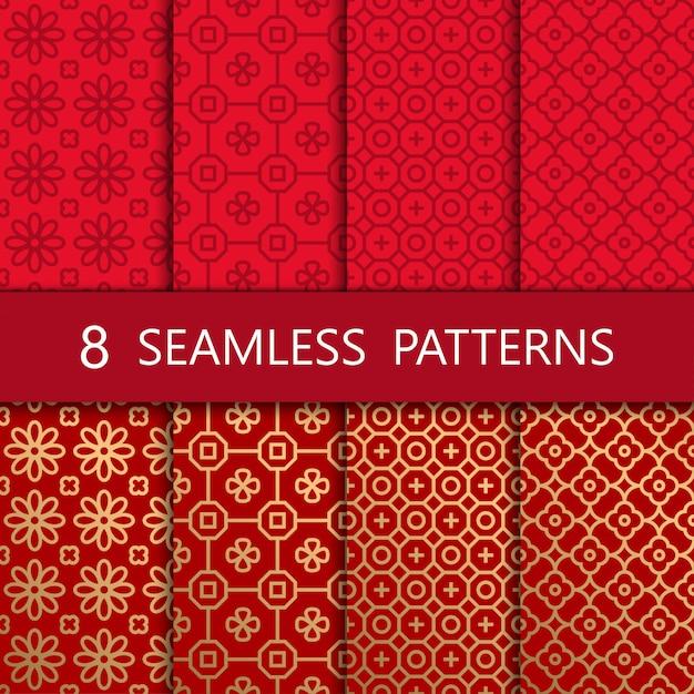 Set of golden chinese seamless pattern Premium Vector