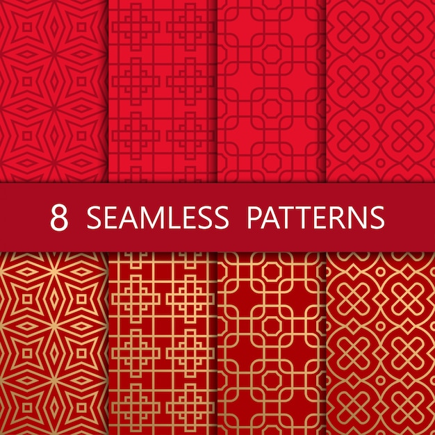 Set of golden chinese seamless pattern Premium Vector