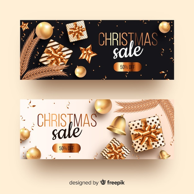 Set of golden christmas banners Free Vector