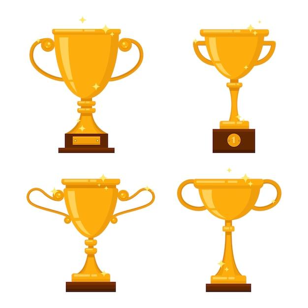 Set of golden cups Premium Vector