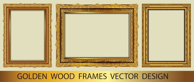 Set of golden decorative vintage frame Premium Vector