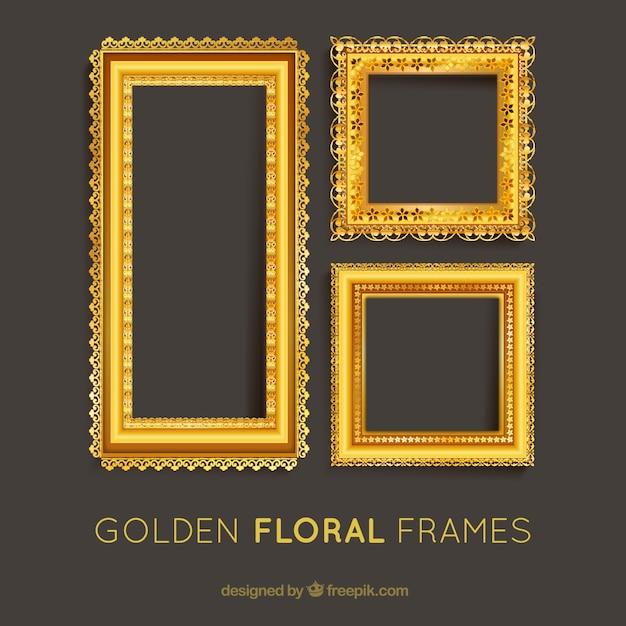 Set of golden floral frames Free Vector