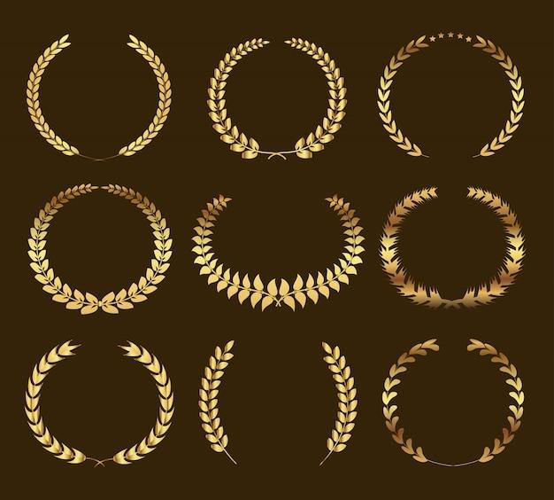 Set of golden laurel wreaths Premium Vector