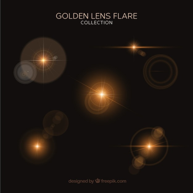 Set of golden lens flare with realistic style Free Vector