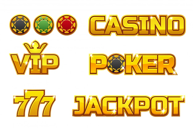 Premium Vector Set Golden Logo Jackpot Poker 777 Casino And Vip Gold Play Chips