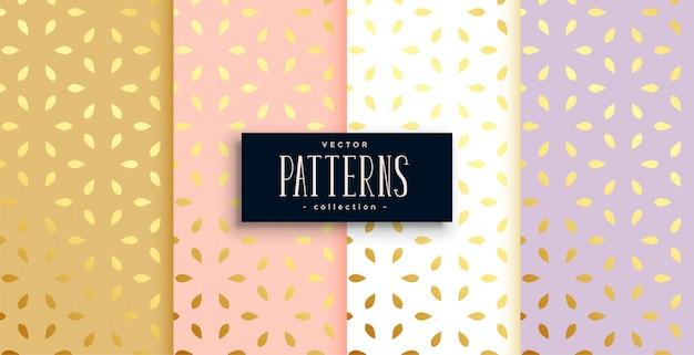 Set of golden patterns on pastel color Free Vector