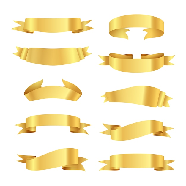 Set of golden ribbons Free Vector