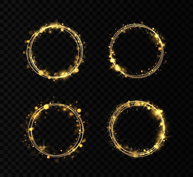 Set of golden rings. gold circles frames with glitter light effect. Premium Vector