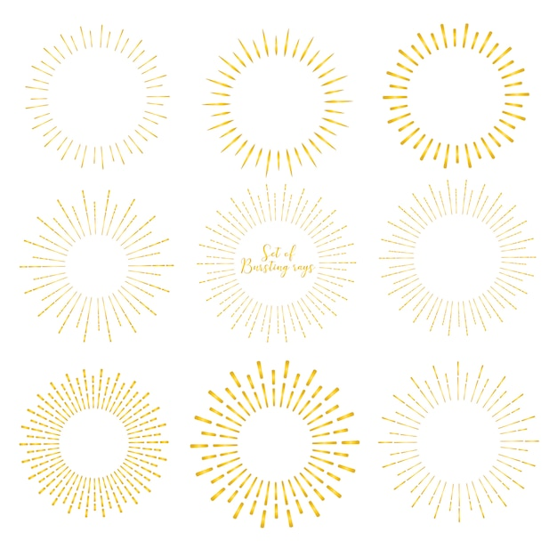 Set of golden sunburst style isolated on white background. Premium Vector