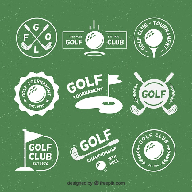 Set of golf badges in flat style Free Vector