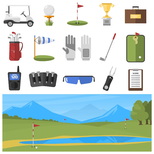 Set of golf icons isolated Premium Vector