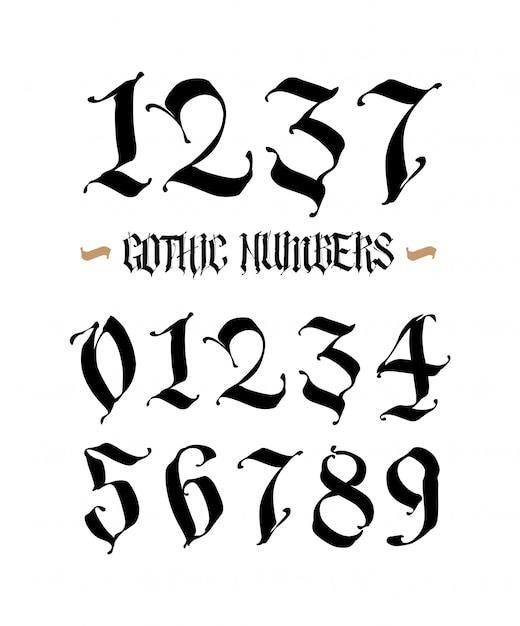 Set of gothic numbers Premium Vector