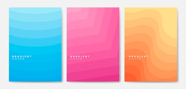 Set of gradient cover graphic designs Free Vector