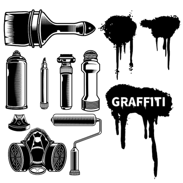 Set of graffiti mural or bombing tool with spray effect ink