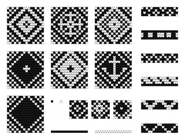Set of grandma marine knitting patterns Premium Vector