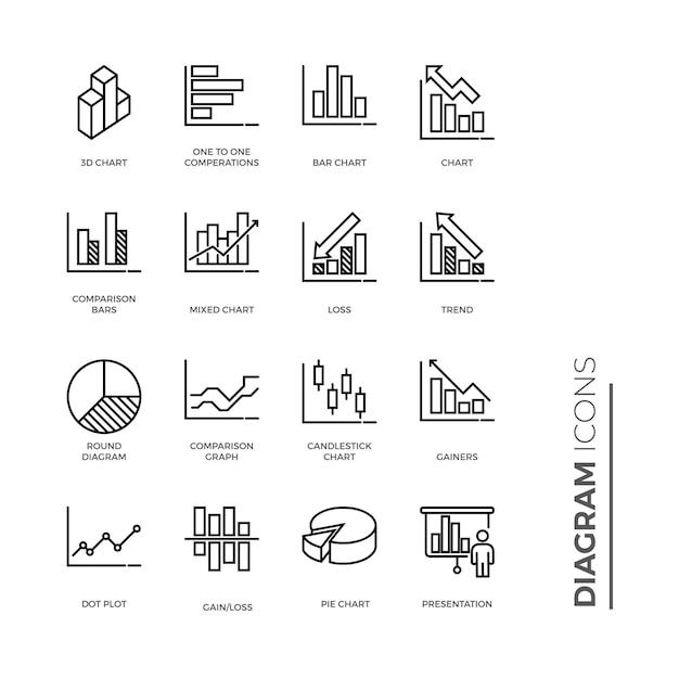 Set of graph and diagram icon, outline icon Premium Vector