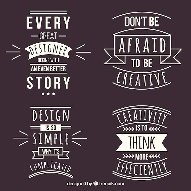 Set of graphic design quotes in flat style Free Vector