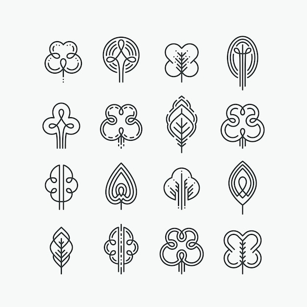 Set of graphical line trees and leaves, mono line  collection of nature signs, logos and symbols. Premium Vector