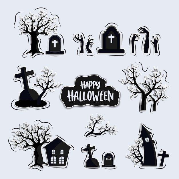 Set of graveyards cartoon, halloween elements set, isolated on background Premium Vector
