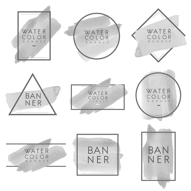 Set of gray watercolor banner design vector Free Vector