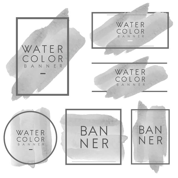Set of gray watercolor banner design vector Free Vector