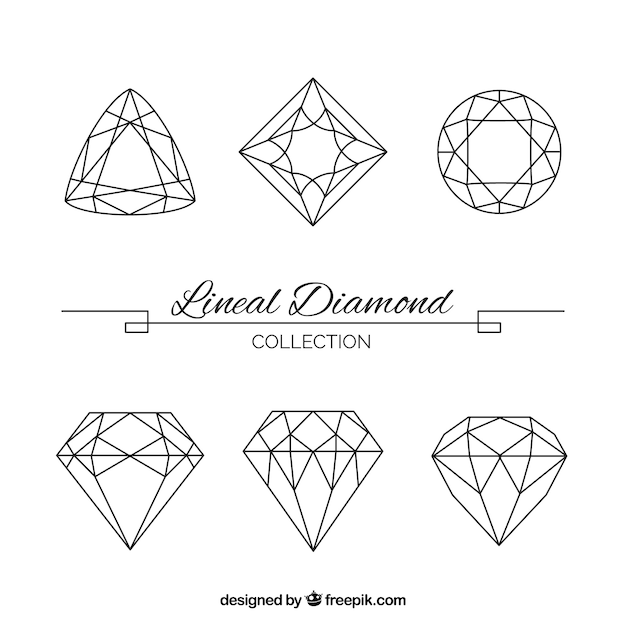 Set of great lineal precious stones Free Vector