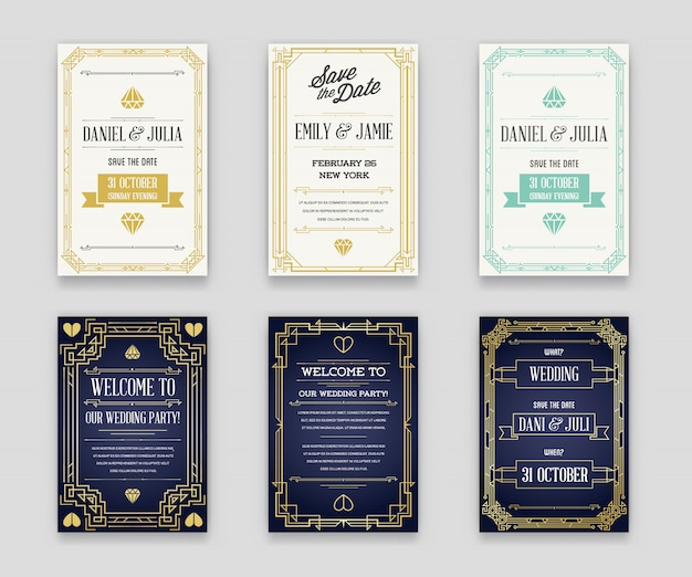 Set of great quality style invitation in art deco or nouveau epoch 1920's gangster era collection vector Premium Vector