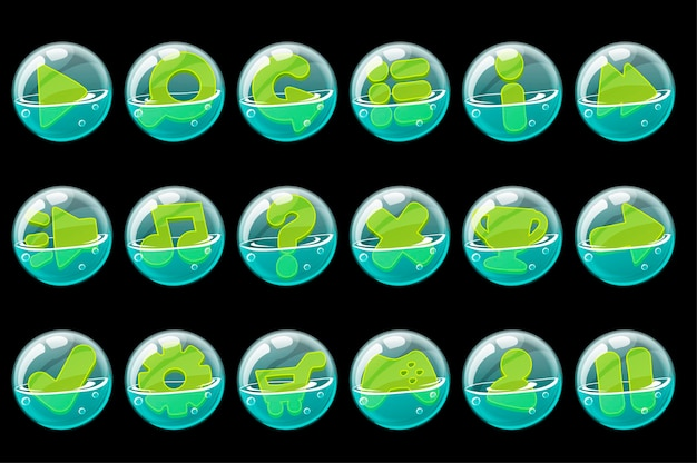 Set of green buttons in soap bubbles for the interface. Free Vector